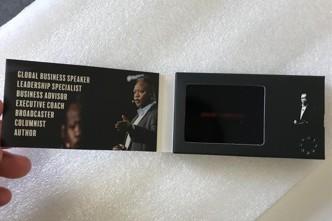 business card video, video in a card, video in print, video brochure